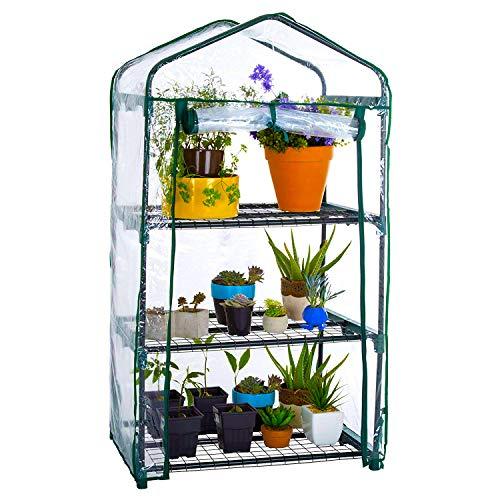 WZTO 3-Tier Mini Serre de Jardin Étagère, Serre portative Tente Abri Couverture 27 * 19 * 49 in, Greenhouse Résistant aux Intempéries Serre Durable pour Jardin pour Fruits/légumes