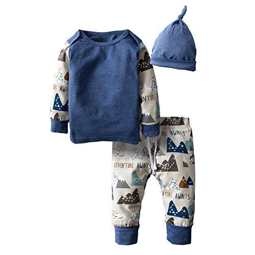 BIG ELEPHANT Jungen' 3 Stück Grafik Langarm Hose Bekleidung Set mit Hut H94A