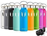 Super Sparrow doppia parete in acciaio inox coibentato bottiglia di acqua - 500ml & 750ml &1000ml - isolante della borraccia con 100% di garanzia di soddisfazione   perfetto Thermos per la Corsa, fitness, Yoga, all' aperto e Camping, Auto o in movimento   Privo di BPA, BPS, ftalati   Die sano Art bevanda   Ideale come acqua & Sport bottiglia - con 2 Cappucci intercambiabili (Blu mare, 750ml-25oz)