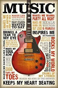 Motivational - Poster - Music is passion + 1 Packung tesa Powerstrips ® - Inhalt 20 Stück