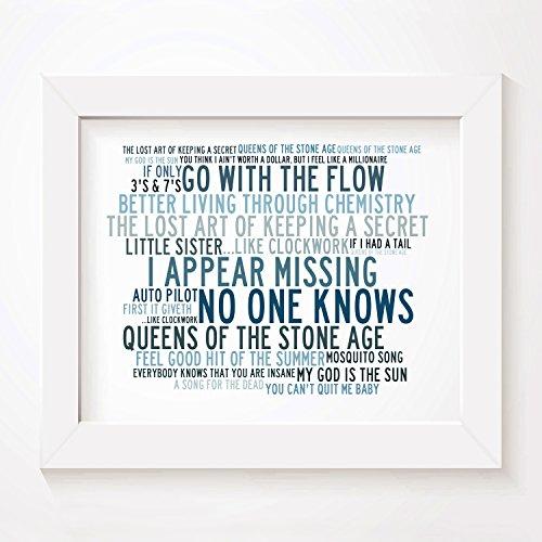 `Crystalline` Kunstdruck Poster - QUEENS OF THE STONE AGE - Unterzeichnet und Nummerierten Limitierte Auflage Singles Typografie Ungerahmt 25 x 20 cm (10 x 8 inch) Wand Kunst Druck Text - Vinyl-grafik-band