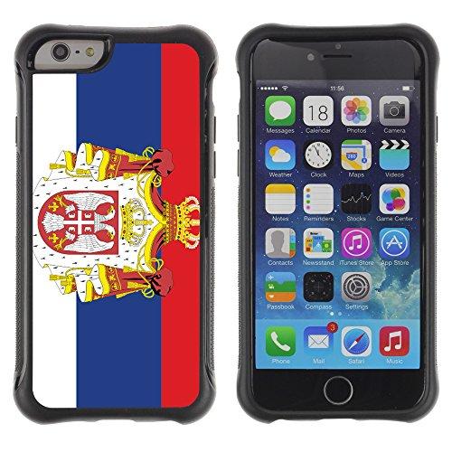 Graphic4You Serbien Serbisch Flagge Stoßfeste Anti-Rutsch Weichen Hülle Case Tasche Schale Schutzhülle für Apple iPhone 6 Plus / 6S Plus Design #1