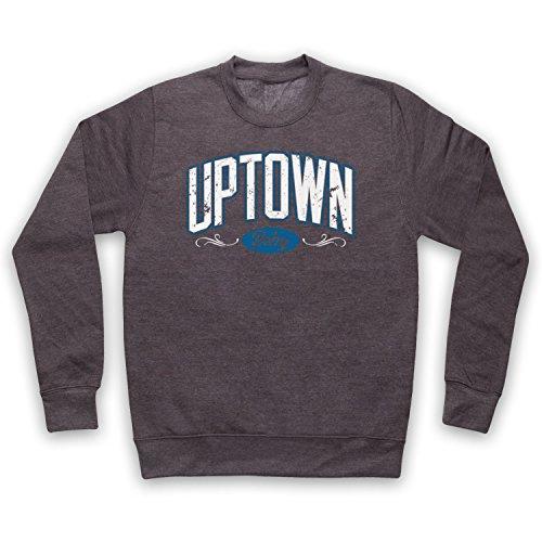 Hip-hop-holzkohle (My Icon Art & Clothing Uptown Baby Hip Hop Retro NYC Slogan Erwachsenen Sweatshirt, Holzkohle, Small)