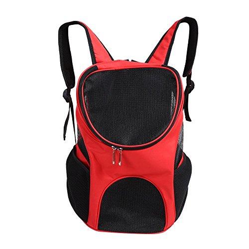 Smandy Haustier Rucksack Verstellbare Haustiertasche Out Hunde Rucksäcke Faltbarer Haustiertragetasche mit Belüftet Mesh für Hunde und Katzen, 25 x 30 x 35cm(Rot)