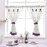 Römischer Vorhang Tüll Kaffee Vorhang Küche Kurzer Vorhang Halbschatten Kleiner Vorhang zum Haus Dekoration Rod Tasche , Purple , 1pc(200x80 cm)