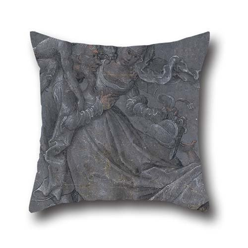 Pillow Cases Of Oil Painting Bernhard Strigel - Pair Of Lovers With The Devil And Cupid 16 X 16 Inch / 40 By 40 Cm,best Fit For Couch,club,birthday,kids Room,bench,valentine Twin Sides