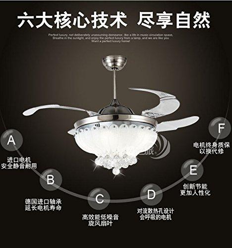 Stealth lampadario di cristallo LED fan,comando a parete 36 pollici argento