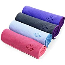Heathyoga toalla antideslizante de yoga de alta calidad, revestimiento de silicona antideslizante, diseño de bolsillo de las 4 esquinas, lavable a máquina, super absorbente.