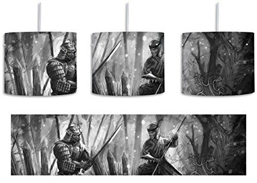Söldner Kostüme 2 (Kampf zwischen Samurai und Ninja Kunst B&W inkl. Lampenfassung E27, Lampe mit Motivdruck, tolle Deckenlampe, Hängelampe, Pendelleuchte - Durchmesser 30cm - Dekoration mit Licht ideal für Wohnzimmer, Kinderzimmer,)