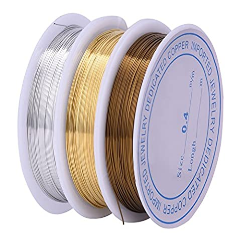 Outus 0.4 mm Bare Copper Wire Tarnish Resistant Copper Wire for Jewelry Beading and Craft Making, 3