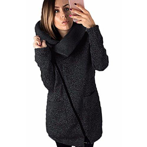 Trenchcoat,Dasongff Damen Winter Zipper Strickmantel Warm Plus Mantel Strickjacke Sweatshirt Kapuzenjacke Top Seiten Reißverschluss übergangsjacke (S, Dark Gray)