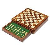 Quadratisches Magnetschachspiel aus Holz mit Schublade | Handgemacht | Reiseschach-Brettspiel mit Schachfiguren-Schublade (25 x 25 x 4 cm)