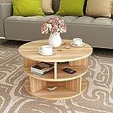 KF Moderner Couchtisch, runder Ablagetisch, Nachttisch, Montage schwarz, weiß, helle Walnuss 50 * 45cm (Farbe : Light Walnut)