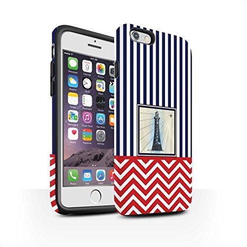 Stuff4 Matte Harten Stoßfest Hülle/Case für Apple iPhone 6 / Leuchtturm Turm Muster/Nautisch Marine Chevron Kollektion