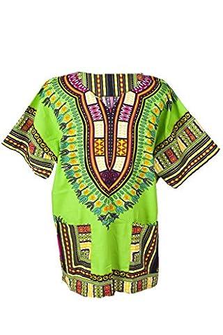 Lofbaz Dashiki Unisexe Haut avec impression africain traditionnel Vert clair Taglia L