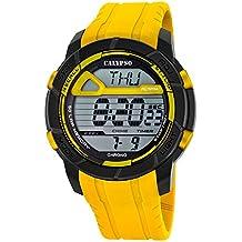 Calypso hombre-reloj deporte digital PU-pulsera amarillo y esfera de colour negro y