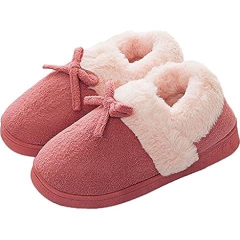 Minetom Mujer Hombre Invierno Interior Zapatillas De Estar Por Casa Pareja Felpa Skidproof Bowknot Algodón Zapatos