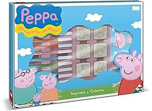 MULTIPRINT Peppa Pig - Juego Creativo con 7 Sellos de Goma y Pinturas