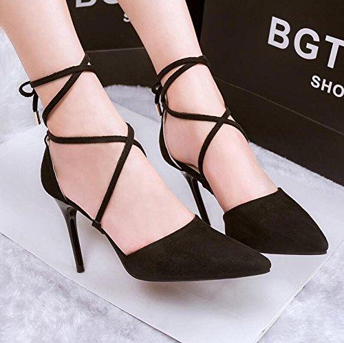 Lgk & Fa A - Chaussures À Semelle Compensée Stilettos À Lacets Transversales 39 Rose Rouge 36 Noir
