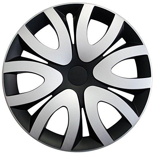 Radkappen / Radzierblenden 16 Zoll MIKA SCHWARZ-SILBER (Farbe wählbar) passend für fast alle Fahrzeugtypen - universal (Radkappen Honda 16)