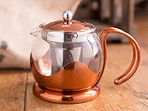 Creative Tops 660 ml Copper and Glass La Cafetiere Origins Le Teapot with Infuser Basket