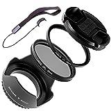LUMOS COMPLETE Objektiv Zubehör Set 55mm | Gegenlichtblende UV Schutz-Filter Polfilter Objektivdeckel & Halter | für Ihr Sony Kamera Objektiv mit 55 mm Filtergewinde