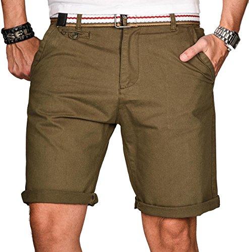 Alessandro Salvarini A. Salvarini Herren Bermuda Shorts kurze Sommer Hose inkl. Gürtel AS-096 [AS-096-Grün-W36]
