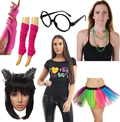 Islander Fashions Womens Ich Liebe die 80er Jahre Top Rock Beinw�rmer Handschuh Halskette Stirnband Brillen Set (WF7620 + 3LWT7748 + GL9026 + PLGP005 + WA2736 + 13024XX + 7201) X-Large (80 Liebe Die Ich)