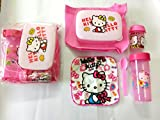 Shopkooky Combo of Lunch Box, Spoon, Water Bottle, Handkerchief, Small Bottle and Carry