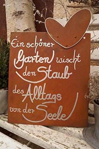 Dekostüberl Rostalgie Edelrost Tafel mit Herz - EIN schöner Garten - Schild Gedichttafel Spruch Gartendekoration