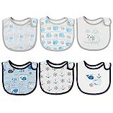 6pcs Baby Junge/Mädchen Lätzchen Blau Spucktuch Baumwolle Halstücher mit süßen Motiven in unterschiedlichen Farben, Doppellagig Saugfähig (3-24 Monate) (Mehrfarbig4)