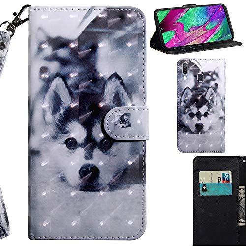 DodoBuy 3D Hülle für Samsung Galaxy A40, Flip PU Leder Schutzhülle Handy Tasche Brieftasche Wallet Case Cover Ständer mit Kartenfächer Trageschlaufe Magnetverschluss - H&