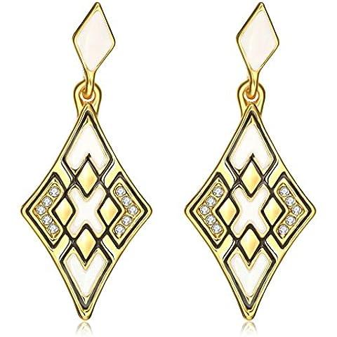 Gnzoe Gioielli 18K Oro Placcato Drop Orecchini Rhombus X Forma Opal Cristallo Eco Amichevole