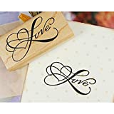 Korea Style Greeting Words Love/Love You Seal Stamper DIY Rectangle Wood Rubber Craft Art Word Love