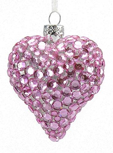 Boule en verre cœur rose cm.8