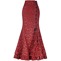 Zapatos rojos del lápiz falda sirena jacquard de alta cintura elegante Party Rock BP000204-2_USA14