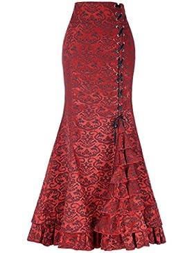 Yafex Mujeres Faldas Elegantes Maxi Gótica Plisada Nudos Cruz Con Pliegues Victoriano ES000203