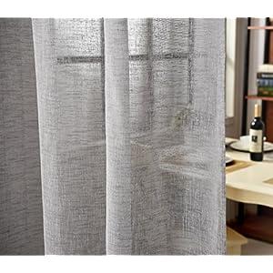 WOLTU VH5864dgr-2, 2er Set Gardinen transparent mit Schlaufen Leinen Optik, Doppelpack lichtdurchlässige Vorhänge Stores Fensterschal für Wohnzimmer Kinderzimmer Schlafzimmer, 140x225 cm Dunkelgrau