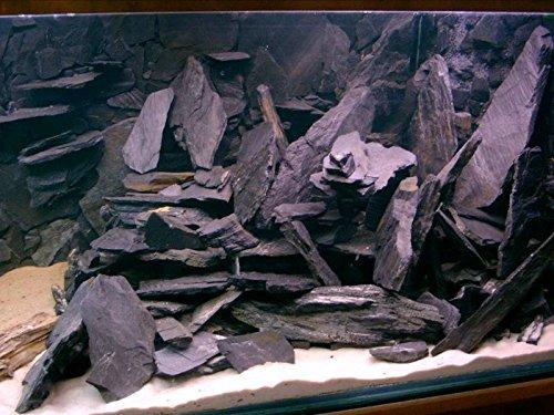 Aquarium Rock Fish Tank Decoration Slate 100% Natural Ideal For Caves BLACK SLATE 10kg Set 2