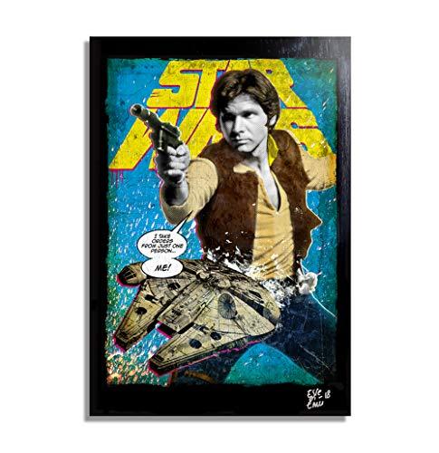 Arthole.it han solo (harrison ford) e millennium falcon dai film star wars - quadro pop-art originale con cornice, dipinto, stampa su tela, poster, locandina