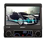 """Pumpkin 7"""" Detachable Touch Screen Bluetooth Car GPS Single Din Car Stereo with DVD CD Audio Player Support USB SD FM AM Receiver Steering Wheel Control Subwoofer AUX Cam-in with Free 8GB Map Card"""