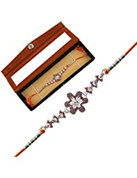 Jewel Fuel Silver Designer Rakhi With Velvet Gift Box