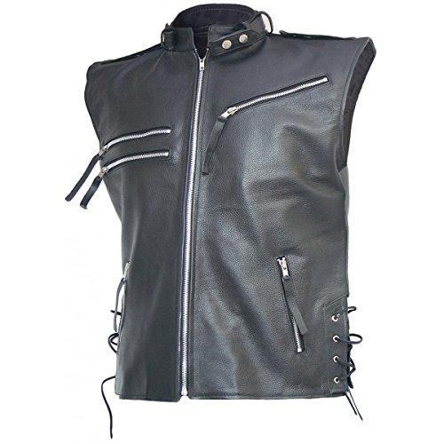 Celebrity Fashion Design Men's Black Biker Leather Vest - Brody CFD2000369 XXXXX-Large