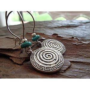 ✿ SPIRAL BOHO ETHNO NATUR STEIN ✿ lange Haken Ohrringe mit Steinrondell
