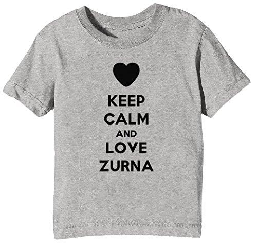 Keep Calm and Love Zurna Kinder Unisex Jungen Mädchen T-Shirt Rundhals Grau Kurzarm Größe XL Kids Boys Girls Grey X-Large Size XL