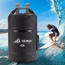 Semoo Bolsa estanca impermeable 20 litros, para deportes y playa (kayak, pesca, rafting, buceo, camping, esquí, escalada, senderismo) con correa para el hombro, color Negro
