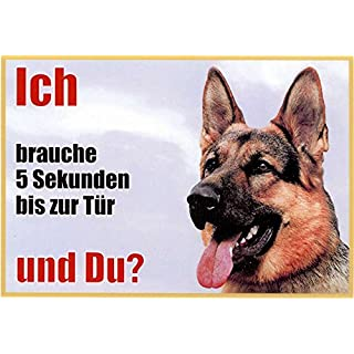 German Shepherd Dog Side View 001 Approx. 21 x 15 cm Laminated Waterproof Ich Brauche 5 Sekunden bis zur Tür und du. Can be used indoors and outdoors
