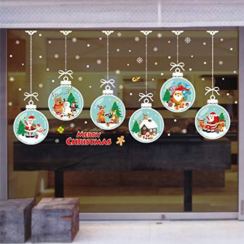 Christmas Hanging Ball Window Clings Aufkleber Aufkleber Weihnachten Thanksgiving Dekorationen Ornamente Party Supplies -