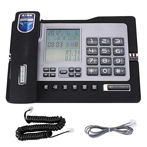 Qiterr Festnetztelefon, G026 Einfaches Tischtelefon für den Heimarbeitsplatz(Schwarz) Paging-adapter
