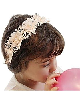 Butterme – Diadema para bebé o niñas, cinta para el pelo de encaje. Moda, perla, flor, cabello, diadema, encaje...